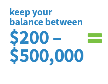 Keep your balance between $200 - $500k
